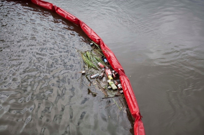 Litter trap in Aura river in Turku, Finland
